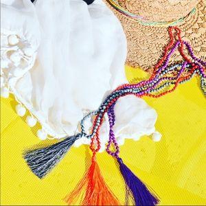 3 beaded tassel necklaces grey, red/orange, purple
